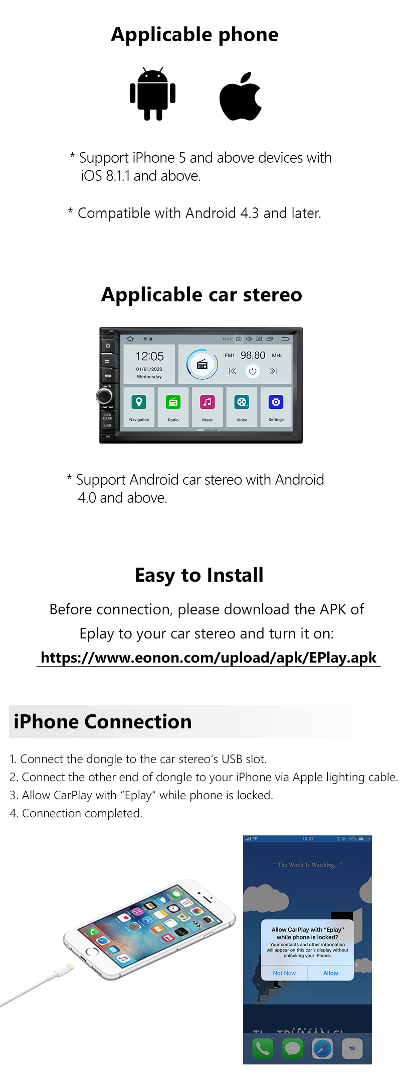 Details about A0585 USB Dongle Link Android Navigation Player For Apple  CarPlay Android Auto